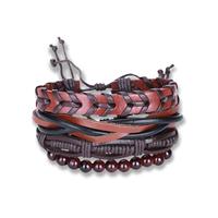 comeon® Schmuck Armband, Kuhhaut, mit Gewachste Nylonschnur & Glas, unisex & einstellbar, Länge:ca. 7 ZollInch, 4SträngeStrang/setzen, verkauft von setzen