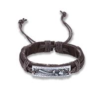 comeon® Schmuck Armband, Kuhhaut, mit Gewachste Nylonschnur & Zinklegierung, antik silberfarben plattiert, unisex & einstellbar, verkauft per ca. 6.7 ZollInch Strang