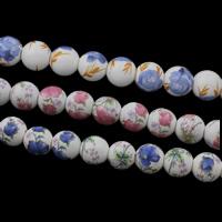 Kunstdruck Porzellan Perlen, rund, verschiedene Größen vorhanden, keine, Bohrung:ca. 2mm, 100PCs/Tasche, verkauft von Tasche
