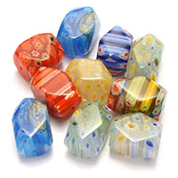 Millefiori Scheibe Lampwork Perlen, mit Millefiori Scheibe & gemischt, 18-20x11.5-14x12-12.5mm, Bohrung:ca. 1.5mm, 5Taschen/Menge, ca. 20PCs/Tasche, verkauft von Menge