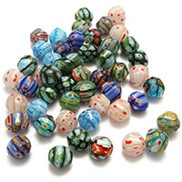 Millefiori Scheibe Lampwork Perlen, mit Millefiori Scheibe, gemischte Farben, 13x12.50x11.50mm, Bohrung:ca. 1.5mm, 5Taschen/Menge, ca. 50PCs/Tasche, verkauft von Menge