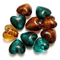 Goldsand & Silberfolie Lampwork Perlen, Herz, Goldfolie und Siberfolie, gemischte Farben, 28x26-29x15-19mm, Bohrung:ca. 2-3mm, 2Taschen/Menge, 20PCs/Tasche, verkauft von Menge