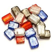 Goldsand & Silberfolie Lampwork Perlen, Rechteck, Goldfolie und Siberfolie, gemischte Farben, 19-21x15x7-9mm, Bohrung:ca. 1.5-2mm, 3Taschen/Menge, 30PCs/Tasche, verkauft von Menge