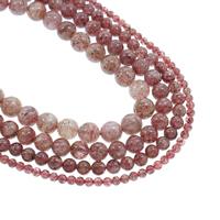 Strawberry Quartz Perle, rund, natürlich, verschiedene Größen vorhanden, Bohrung:ca. 1mm, verkauft per ca. 15.5 ZollInch Strang