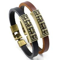 Herren-Armband & Bangle, PU Leder, mit Zinklegierung, plattiert, für den Menschen, keine, frei von Nickel, Blei & Kadmium, 37x8mm, Länge:ca. 8.2 ZollInch, 3SträngeStrang/Menge, verkauft von Menge