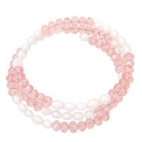 Natürliche kultivierte Süßwasserperlen Armband, mit Kristall, für Frau & 3-Strang & facettierte, 4-5mm, verkauft per ca. 20 ZollInch Strang
