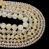 Natürlicher Citrin Perlen, Gelbquarz Perlen, rund, November Birthstone & verschiedene Größen vorhanden, Grad AAA, verkauft per ca. 15.5 ZollInch Strang