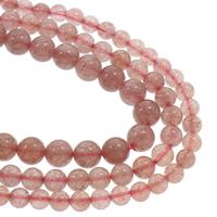 Strawberry Quartz Perle, rund, natürlich, verschiedene Größen vorhanden, rot, Grad AAA, verkauft per ca. 15.5 ZollInch Strang