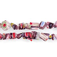Millefiori Scheibe Lampwork Perlen, mit Millefiori Scheibe & gemischt, 2-9x4-9x4-8mm, Bohrung:ca. 1mm, Länge:ca. 32 ZollInch, 10SträngeStrang/Menge, ca. 165PCs/Strang, verkauft von Menge