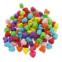 European Acrylperlen, Acryl, Volltonfarbe, gemischte Farben, 12x10x8mm, Bohrung:ca. 4mm, 500G/Tasche, verkauft von Tasche