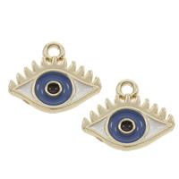 Evil Eye Anhänger, Zinklegierung, Auge, goldfarben plattiert, böser Blick- Muster & Emaille, frei von Blei & Kadmium, 14x12x1.50mm, Bohrung:ca. 1mm, 50PCs/Tasche, verkauft von Tasche