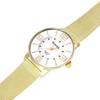 Damen Armbanduhr, Zinklegierung, mit Glas & Edelstahl, flache Runde, goldfarben plattiert, für Frau, frei von Nickel, Blei & Kadmium, 35-40mm, Länge:ca. 9 ZollInch, verkauft von PC