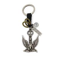 Schlüsselanhänger, Zinklegierung, mit Kuhhaut, Adler, plattiert, mit Brief Muster, 40x125mm, 3SträngeStrang/Menge, verkauft von Menge