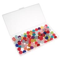 Transparente Acryl-Perlen, Acryl, mit Kunststoff Kasten, rund, transluzent, gemischte Farben, 12mm, 80x150x20mm, Bohrung:ca. 1.5mm, 100G/Box, verkauft von Box