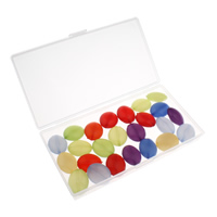 Transparente Acryl-Perlen, Acryl, mit Kunststoff Kasten, flachoval, transluzent, gemischte Farben, 24x20x12mm, 80x150x20mm, Bohrung:ca. 1.5mm, 100G/Box, verkauft von Box