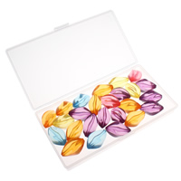 Transparente Acryl-Perlen, Acryl, mit Kunststoff Kasten, transluzent, gemischte Farben, 29x18mm, 80x150x20mm, Bohrung:ca. 1.5mm, 100G/Box, verkauft von Box