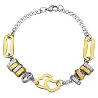 Edelstahl Schmuck Armband, plattiert, Kandare Kette & für Frau, 20x14.5mm, 3x10mm, verkauft per ca. 8.5 ZollInch Strang