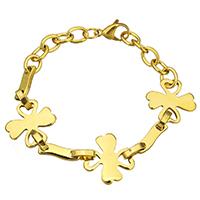 Edelstahl Schmuck Armband, mit Verlängerungskettchen von 1lnch, Blume, goldfarben plattiert, Oval-Kette & für Frau, 19x20mm, 16x4mm, verkauft per ca. 6.5 ZollInch Strang