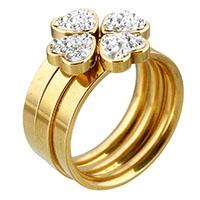 Edelstahl Ring Set, mit Ton, Herz, goldfarben plattiert, verschiedene Größen vorhanden & für Frau, 14.50mm, verkauft von PC