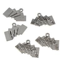 Zink-Aluminium-Anhänger, Zinklegierung, Spielkarte, antik silberfarben plattiert, mit einem Muster von Nummer, frei von Blei & Kadmium, 21.50x14x1mm, Bohrung:ca. 1mm, 20PCs/Tasche, verkauft von Tasche