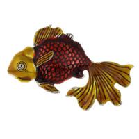 Zinklegierung Tier Anhänger, Goldfisch, antik silberfarben plattiert, Emaille, frei von Blei & Kadmium, 55x32x5mm, Bohrung:ca. 5mm, verkauft von PC