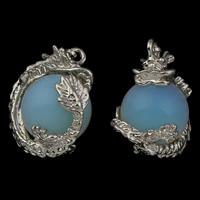 Opal Anhänger, Zinklegierung, mit Opal, Drachen, Platinfarbe platiniert, frei von Blei & Kadmium, 20x29.50x19mm, Bohrung:ca. 3x4mm, 5PCs/Tasche, verkauft von Tasche