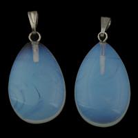 Opal Anhänger, mit Zinklegierung Stiftöse, Tropfen, Platinfarbe platiniert, 15.50x26x6mm, Bohrung:ca. 3x5mm, 5PCs/Tasche, verkauft von Tasche