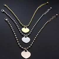 Edelstahl Schmuck Armband, Titanstahl, Herz, plattiert, für Frau, keine, 170mm, verkauft per ca. 6.5 ZollInch Strang