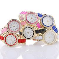 Damen Armbanduhr, Zinklegierung, mit Glas & Harz, plattiert, imitiertes Porzellan & für Frau & mit Strass, keine, frei von Nickel, Blei & Kadmium, 37x7mm, Länge:ca. 8.2 ZollInch, verkauft von PC