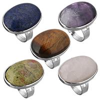 Unisex-Finger-Ring, Messing, mit Edelstein, flachoval, silberfarben plattiert, verschiedenen Materialien für die Wahl & einstellbar, frei von Nickel, Blei & Kadmium, 20.50x28mm, Größe:7-10, verkauft von PC