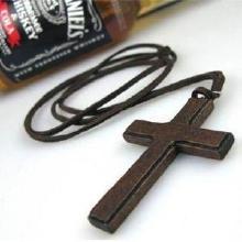 Pullover Kette Halskette, Wollschnur, mit Holz, Kreuz, 850x78x33mm, verkauft per ca. 33 ZollInch Strang