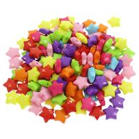 Volltonfarbe Acryl Perlen, Stern, facettierte, gemischte Farben, 14.50x14.50x6mm, Bohrung:ca. 1mm, 500G/Tasche, verkauft von Tasche