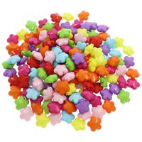 Volltonfarbe Acryl Perlen, Blume, gemischte Farben, 12.50x13x7mm, Bohrung:ca. 1mm, 500G/Tasche, verkauft von Tasche