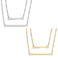 Edelstahl Schmuck Halskette, mit Verlängerungskettchen von 2lnch, Rechteck, plattiert, Oval-Kette & für Frau, keine, 31x2mm, 21x2mm, 1.5mm, verkauft per ca. 18 ZollInch Strang
