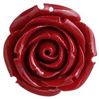 Harz Anhänger, Rose, rot, 31x31x20mm, Bohrung:ca. 1mm, verkauft von PC