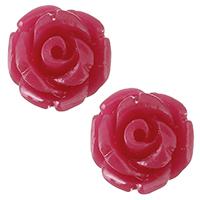 Harz Schmuckperlen, Blume, hochrot, 8.50x8.50x8mm, Bohrung:ca. 0.8mm, verkauft von PC