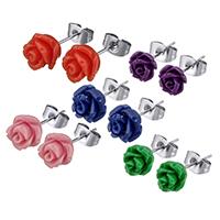 Edelstahl Ohrringe, mit Harz, Blume, verschiedene Größen vorhanden & für Frau, keine, verkauft von Paar