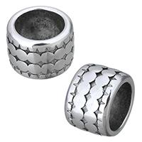 Edelstahl-Perlen mit großem Loch, Edelstahl, Rondell, Schwärzen, 12x8x12mm, Bohrung:ca. 8mm, 10PCs/Menge, verkauft von Menge