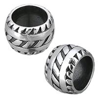 Edelstahl-Perlen mit großem Loch, Edelstahl, Trommel, Schwärzen, 13x9x13mm, Bohrung:ca. 9mm, 10PCs/Menge, verkauft von Menge
