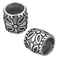 Edelstahl-Perlen mit großem Loch, Edelstahl, Zylinder, Schwärzen, 13x12.50x13mm, Bohrung:ca. 9mm, 10PCs/Menge, verkauft von Menge