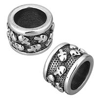 Edelstahl-Perlen mit großem Loch, Edelstahl, Rondell, mit Totenkopf-Muster & Schwärzen, 13x8.50x13mm, Bohrung:ca. 8.5mm, 10PCs/Menge, verkauft von Menge