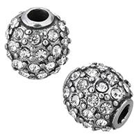 Edelstahl-Beads, Edelstahl, Trommel, mit Strass & Schwärzen, 10mm, Bohrung:ca. 3mm, 10PCs/Menge, verkauft von Menge