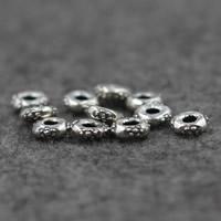 Bali Sterling Silber Perlen, Thailand, flache Runde, 7x2.5mm, Bohrung:ca. 2.5mm, 10PCs/Menge, verkauft von Menge