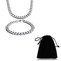 Verfeinern Edelstahl-Schmuck-Sets, Armband & Halskette, Edelstahl, Twist oval, originale Farbe, 8mm, Länge:ca. 24 ZollInch, ca. 8.5 ZollInch, verkauft von setzen