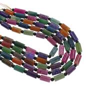 Achat Perlen, gemischter Achat, mit Glas, gemischt, 8x16mm, Bohrung:ca. 1.5mm, ca. 19PCs/Strang, verkauft per ca. 15.5 ZollInch Strang
