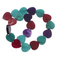 gefärbter Marmor Perle, Herz, 20x20x5mm, Bohrung:ca. 1mm, ca. 20PCs/Strang, verkauft per ca. 14.5 ZollInch Strang