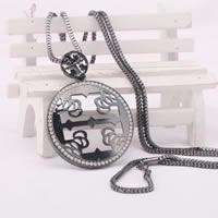 Zinklegierung Pullover Halskette, mit Eisenkette, flache Runde, metallschwarz plattiert, für Frau & mit Strass, frei von Blei & Kadmium, 780mm, verkauft per ca. 30.5 ZollInch Strang