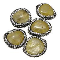 Rutilated Quarz Perle, mit Ton, natürlich, gemischt, 16-18x21-22x9-11mm, 10PCs/Tasche, verkauft von Tasche