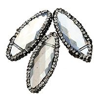 Kristall-Perlen, Lehm pflastern, mit Kristall, mit Strass & gemischt, 13-15x32-34x6-8mm, Bohrung:ca. 1mm, 10PCs/Tasche, verkauft von Tasche