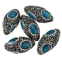 Cats Eye Perlen Schmuck, Lehm pflastern, mit Katzenauge, mit Strass & gemischt, 30-32x14-16x14-16mm, Bohrung:ca. 2mm, 10PCs/Tasche, verkauft von Tasche